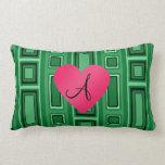 Monograma retro verde de los cuadrados almohadas