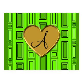Monograma retro verde de neón de los cuadrados postal