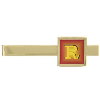 Monograma rojizo del oro 3D Alfiler De Corbata Dorado