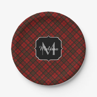 Monograma rojo adorable del tartán del navidad plato de papel de 7 pulgadas