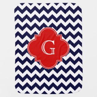 Monograma rojo blanco de Chevron Quatrefoil de la Mantitas Para Bebé