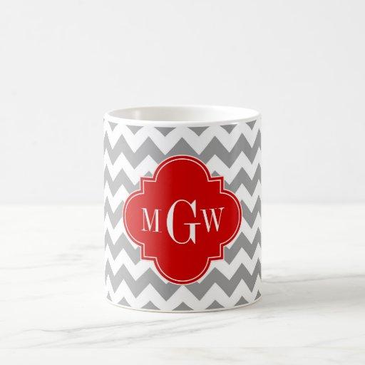 Monograma rojo blanco gris de Chevron Quatrefoil 3 Taza De Café