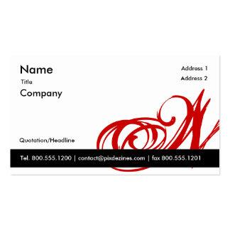 Monograma rojo blanco negro A a Z de la tarjeta de Tarjetas De Visita