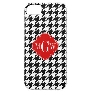 Monograma rojo blanco negro de Houndstooth iPhone 5 Protectores