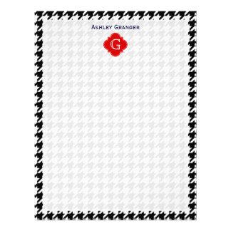 Monograma rojo blanco negro de Houndstooth Membrete