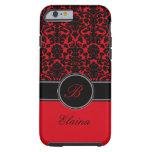 Monograma rojo, caja negra, blanca del iPhone 6 Funda De iPhone 6 Tough