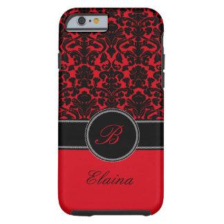Monograma rojo, caja negra, blanca del iPhone 6 Funda Resistente iPhone 6