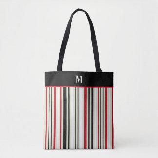Monograma rojo clásico de la raya negra bolsa de tela
