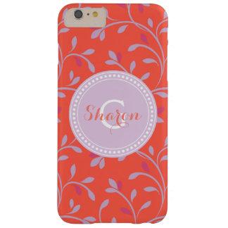 Monograma rojo colorido femenino lindo del funda para iPhone 6 plus barely there
