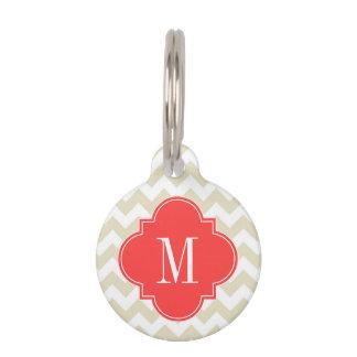 Monograma rojo coralino blanco beige de Chevron Placa De Mascota