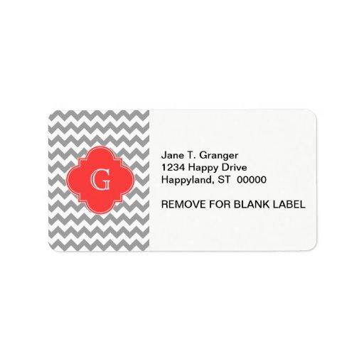 Monograma rojo coralino blanco gris de Chevron Qua Etiqueta De Dirección
