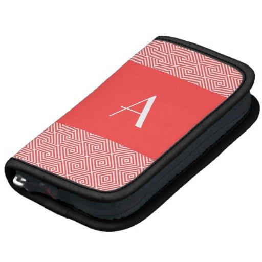 Monograma rojo coralino del planificador w y diseñ