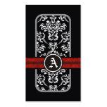 Monograma rojo de la banda del damasco blanco negr plantilla de tarjeta personal