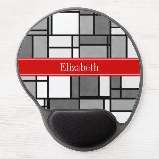 Monograma rojo de la cinta del estilo de Mondrian Alfombrilla Gel