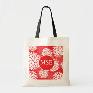 Monograma rojo de la flor blanca bolsa lienzo