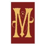 Monograma rojo de la inicial M del oro del Grunge Tarjetas De Visita