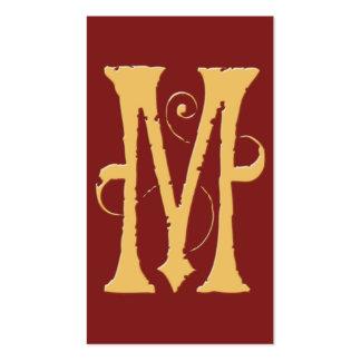 Monograma rojo de la inicial M del oro del Grunge Plantillas De Tarjeta De Negocio