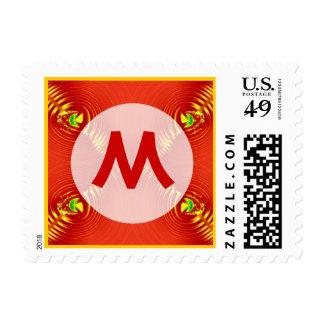 monograma rojo de la ondulación sello