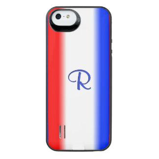 Monograma rojo de la raya blanca y azul funda power gallery™ para iPhone 5 de uncommon