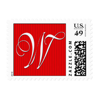 Monograma rojo de la raya del Pin - letra W Sellos