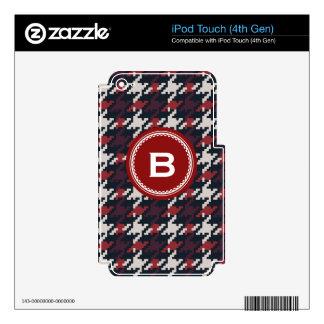 Monograma rojo de la tela escocesa del houndstooth calcomanías para iPod touch 4G