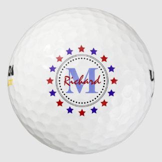 Monograma rojo de las estrellas azules pack de pelotas de golf