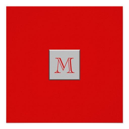 Monograma rojo de plata invitaciones personales