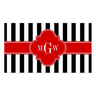 Monograma rojo de Quatrefoil 3 de la raya blanca Tarjetas De Visita