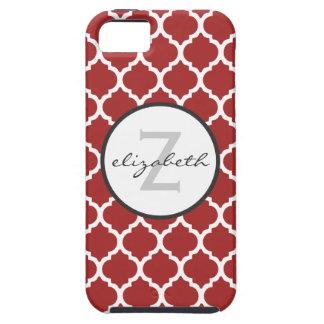 Monograma rojo de Quatrefoil iPhone 5 Carcasas