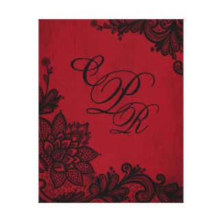 Monograma rojo del boda del cordón del negro del impresión en lienzo estirada
