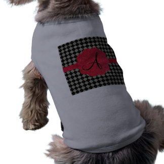 Monograma rojo del brillo del argyle negro camiseta sin mangas para perro