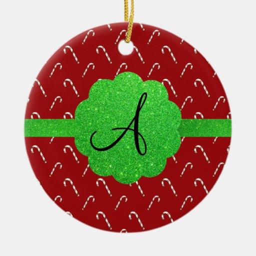 Monograma rojo del brillo del verde de los bastone ornamentos de reyes