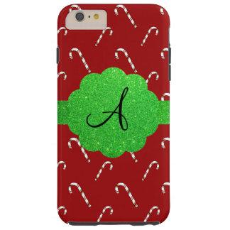Monograma rojo del brillo del verde de los funda de iPhone 6 plus tough