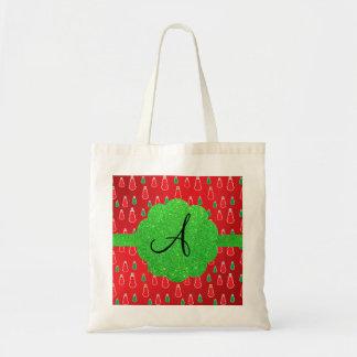 Monograma rojo del muñeco de nieve bolsa