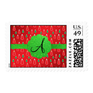 Monograma rojo del muñeco de nieve sellos