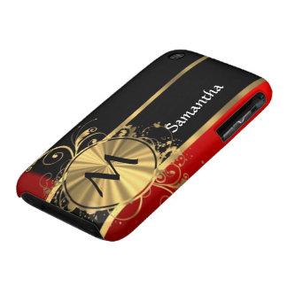Monograma rojo del negro y del oro Case-Mate iPhone 3 protectores