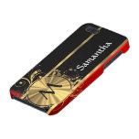Monograma rojo del negro y del oro iPhone 5 fundas