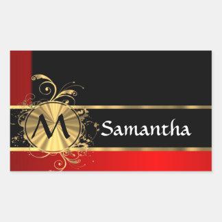 Monograma rojo del negro y del oro pegatina rectangular