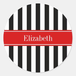 Monograma rojo del nombre de la cinta de la raya pegatina redonda