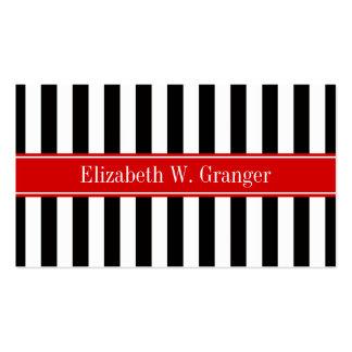 Monograma rojo del nombre de la cinta de la raya tarjetas de visita
