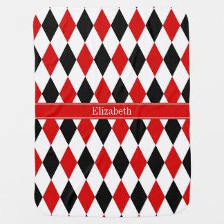 Monograma rojo del nombre de la cinta del mantas de bebé