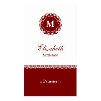 Monograma rojo elegante del cordón de Patissier Tarjeta De Visita