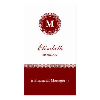 Monograma rojo elegante del cordón del encargado tarjetas de visita