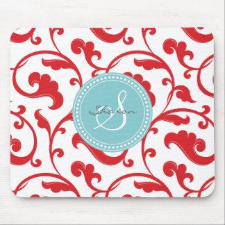 Monograma rojo femenino elegante del estampado de  tapete de raton