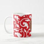 Monograma rojo femenino elegante del estampado de  taza