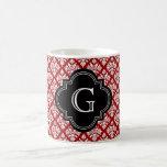 Monograma rojo floral blanco del damasco #3 BG del Taza De Café