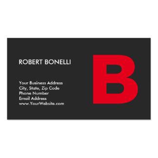 Monograma rojo gris de moda elegante tarjetas de visita