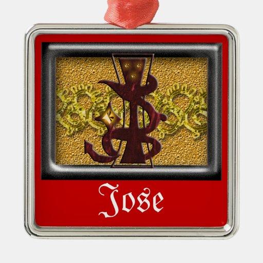 monograma rojo J Adornos