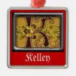 monograma rojo K Ornamento De Navidad