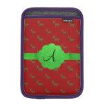 Monograma rojo lindo del reno fundas iPad mini